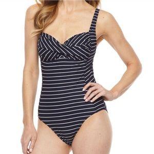 LIZ CLAIBORNE Navy Striped One Piece Swimsuit